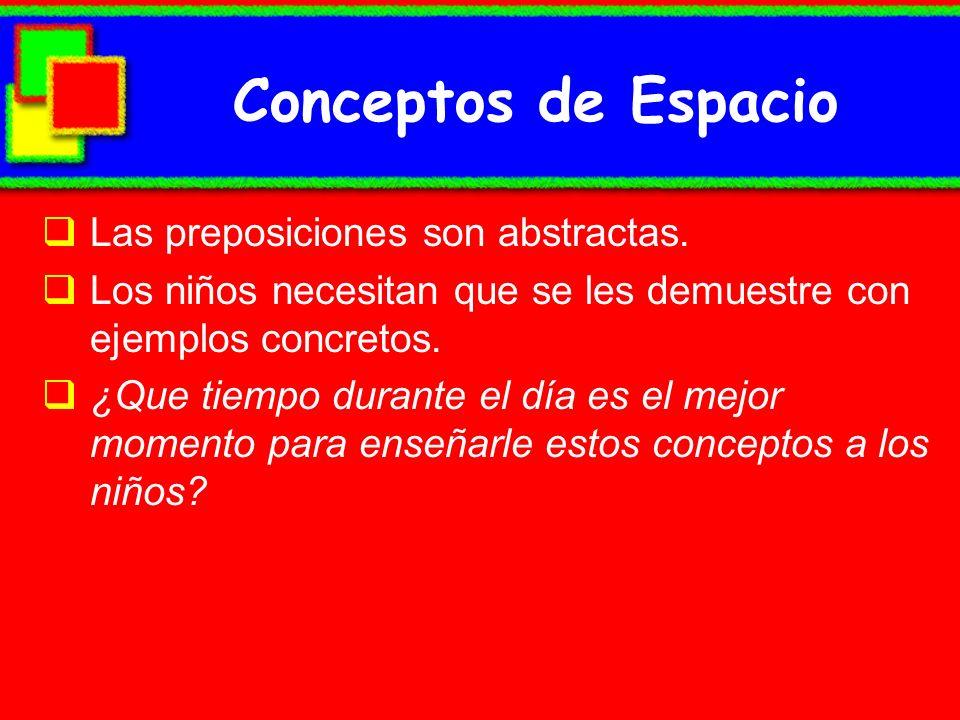 Conceptos de Espacio Las preposiciones son abstractas. Los niños necesitan que se les demuestre con ejemplos concretos. ¿Que tiempo durante el día es