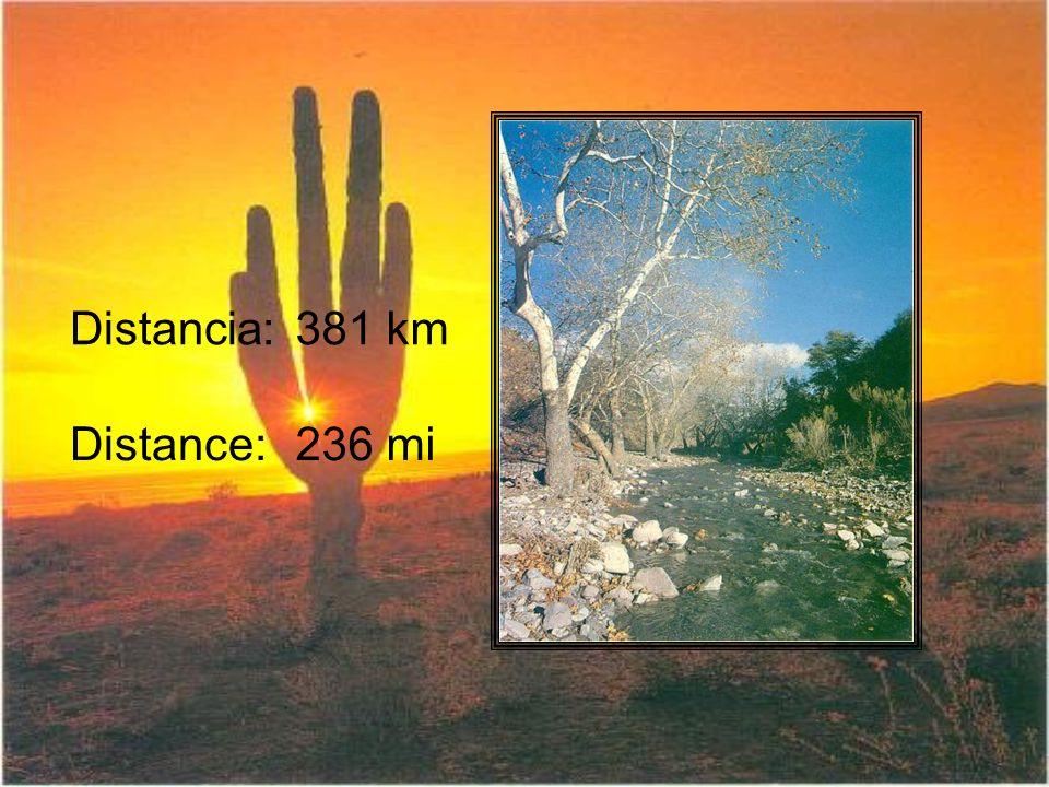 Distancia:381 km Distance:236 mi