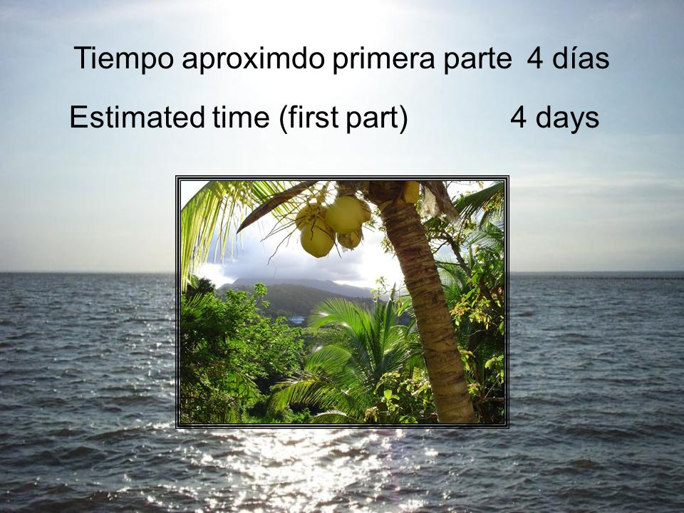Tiempo aproximdo primera parte4 días Estimated time (first part)4 days