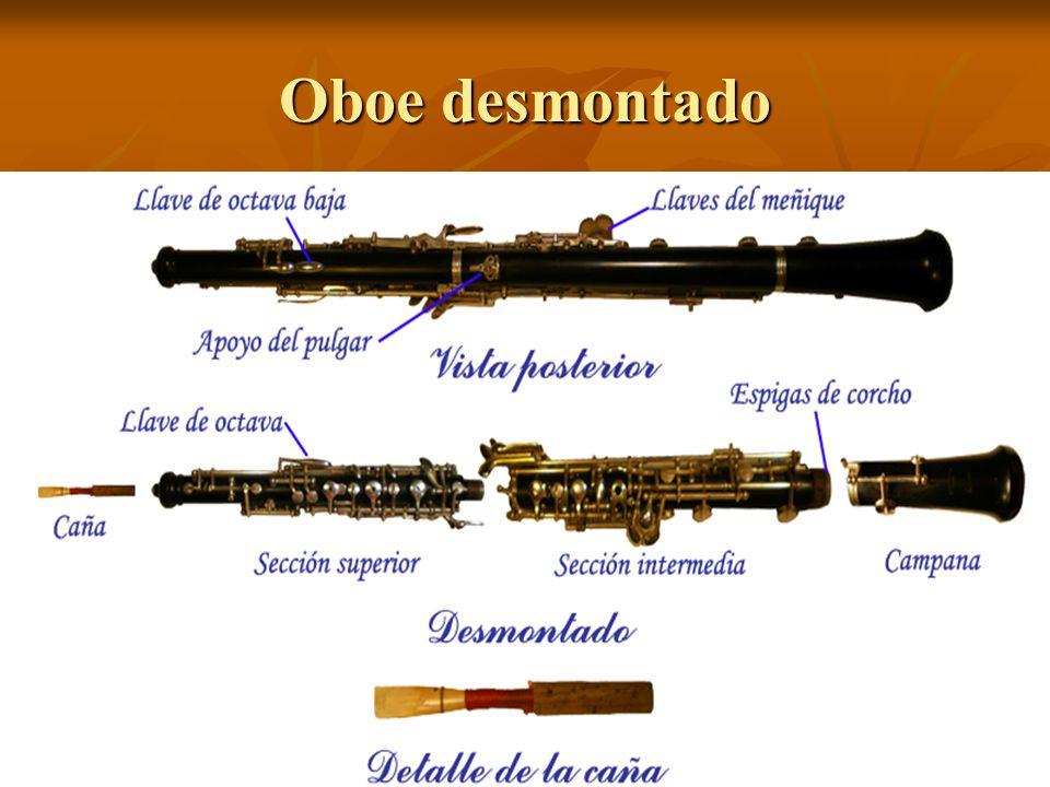 Descripción El oboe consta de un tubo de madera y de una lengüeta doble. El tubo es como el molde de la columna de aire. Sobre él se hacen los orifici