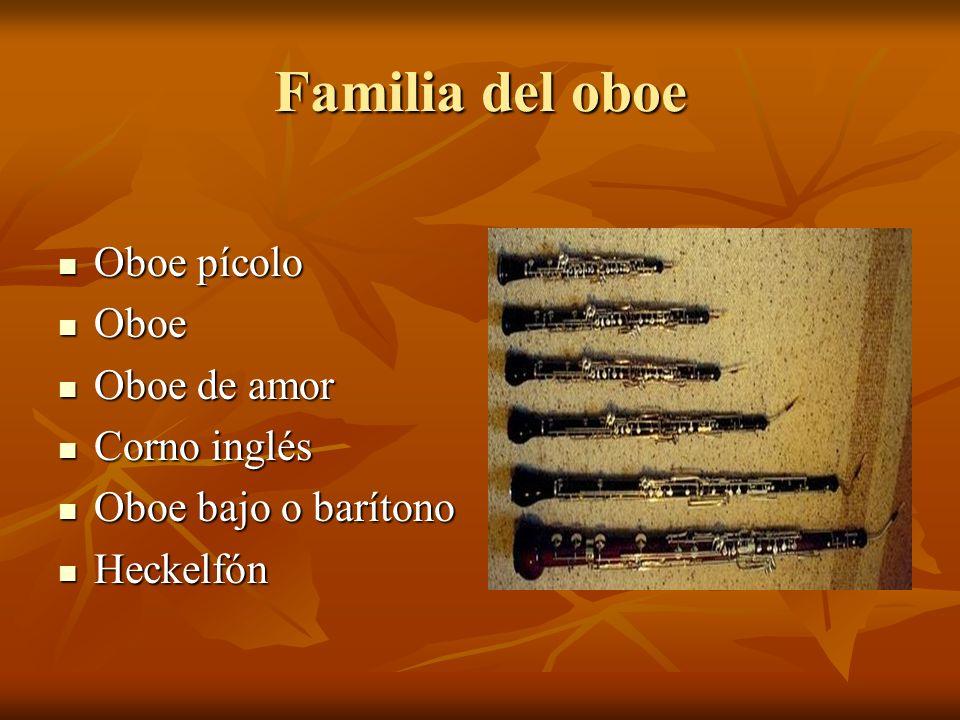 Familia del oboe Oboe pícolo Oboe pícolo Oboe Oboe Oboe de amor Oboe de amor Corno inglés Corno inglés Oboe bajo o barítono Oboe bajo o barítono Heckelfón Heckelfón