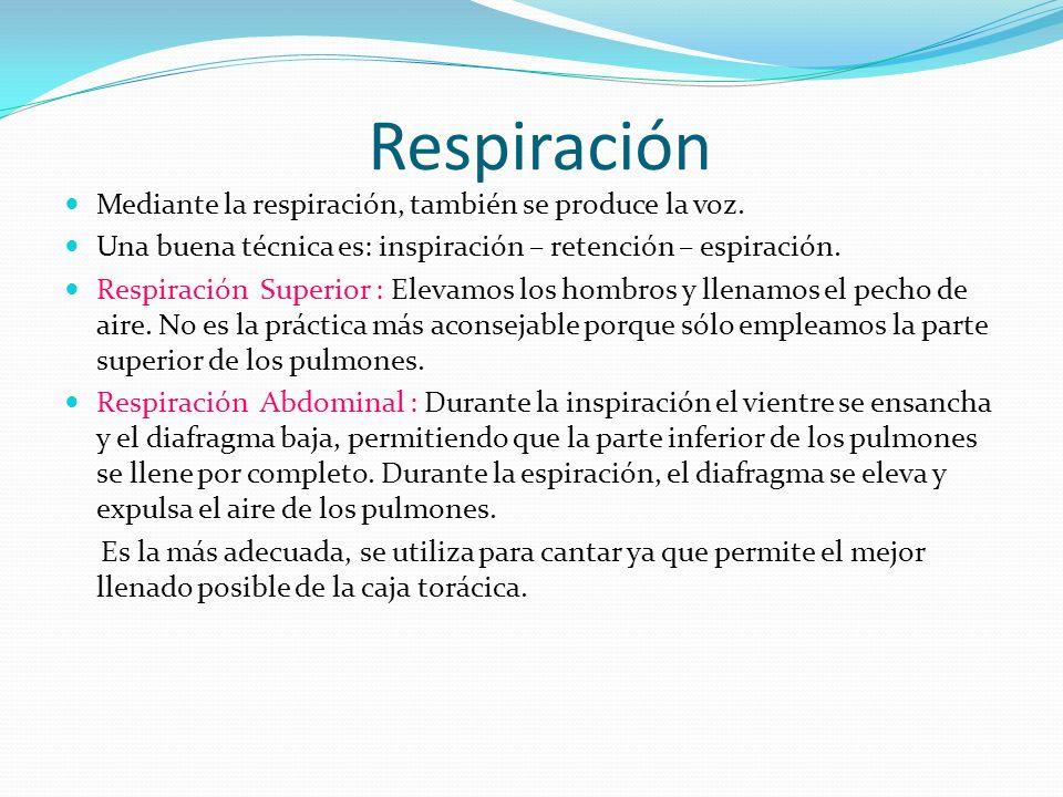 Respiración Mediante la respiración, también se produce la voz. Una buena técnica es: inspiración – retención – espiración. Respiración Superior : Ele