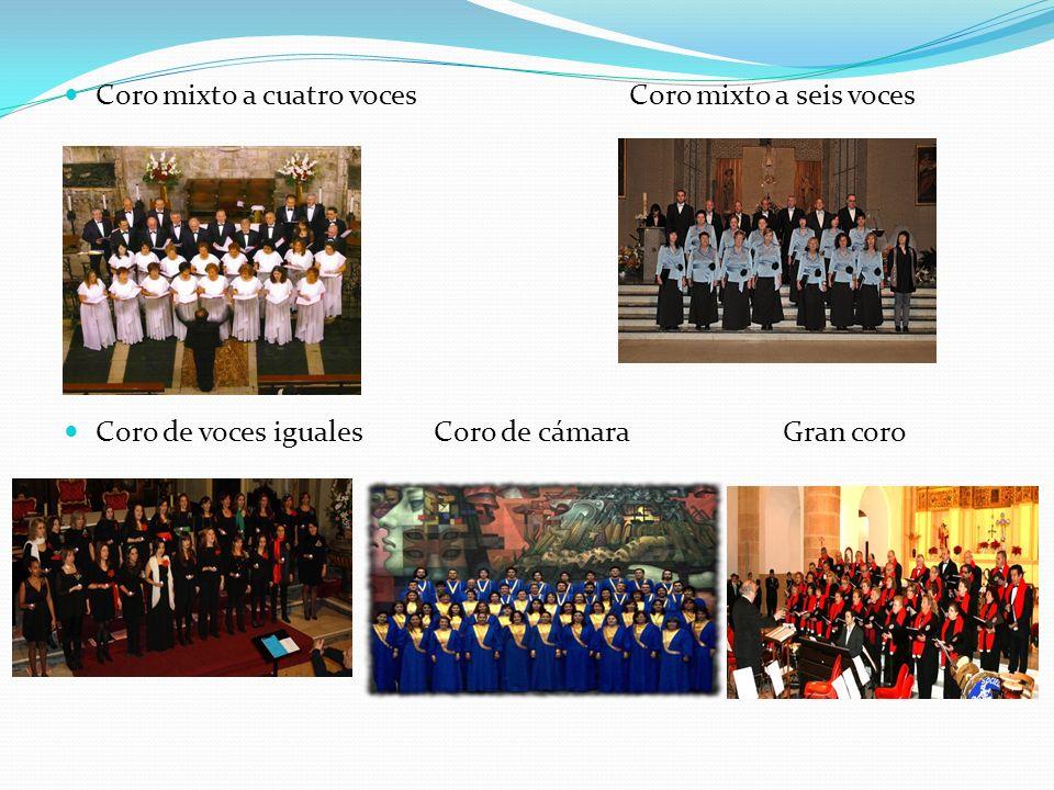 Coro mixto a cuatro voces Coro mixto a seis voces Coro de voces iguales Coro de cámara Gran coro