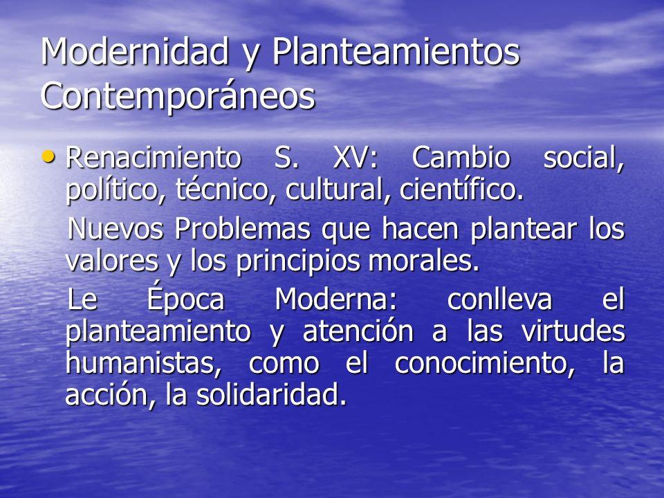 Modernidad y Planteamientos Contemporáneos Renacimiento S. XV: Cambio social, político, técnico, cultural, científico. Renacimiento S. XV: Cambio soci