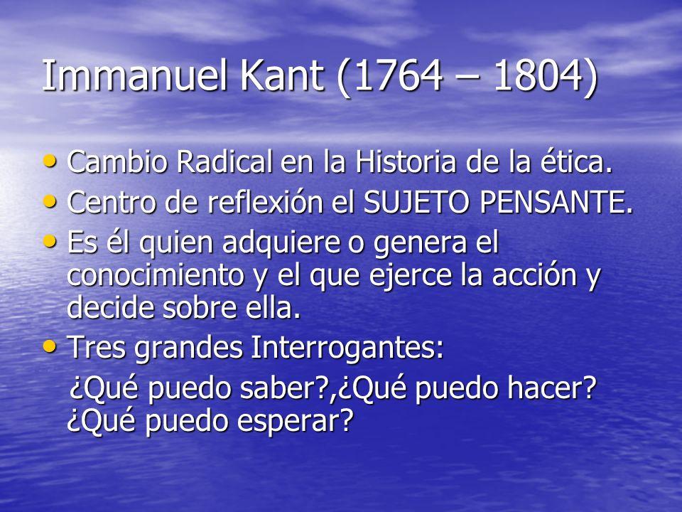 Immanuel Kant (1764 – 1804) Cambio Radical en la Historia de la ética. Cambio Radical en la Historia de la ética. Centro de reflexión el SUJETO PENSAN