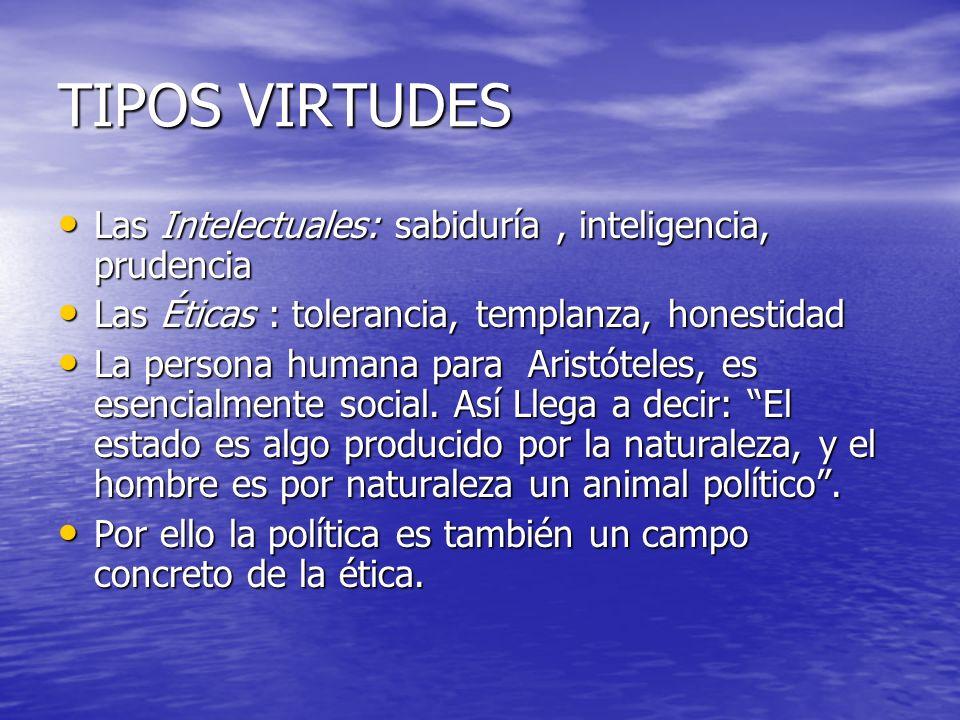 TIPOS VIRTUDES Las Intelectuales: sabiduría, inteligencia, prudencia Las Intelectuales: sabiduría, inteligencia, prudencia Las Éticas : tolerancia, te