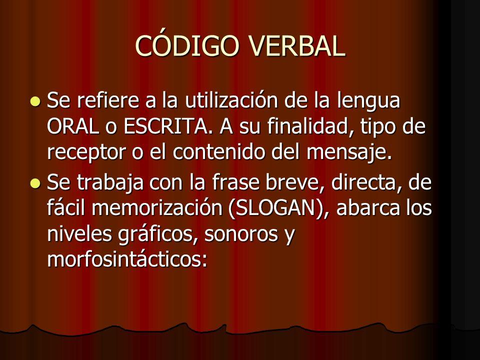 CÓDIGO VERBAL Se refiere a la utilización de la lengua ORAL o ESCRITA. A su finalidad, tipo de receptor o el contenido del mensaje. Se refiere a la ut