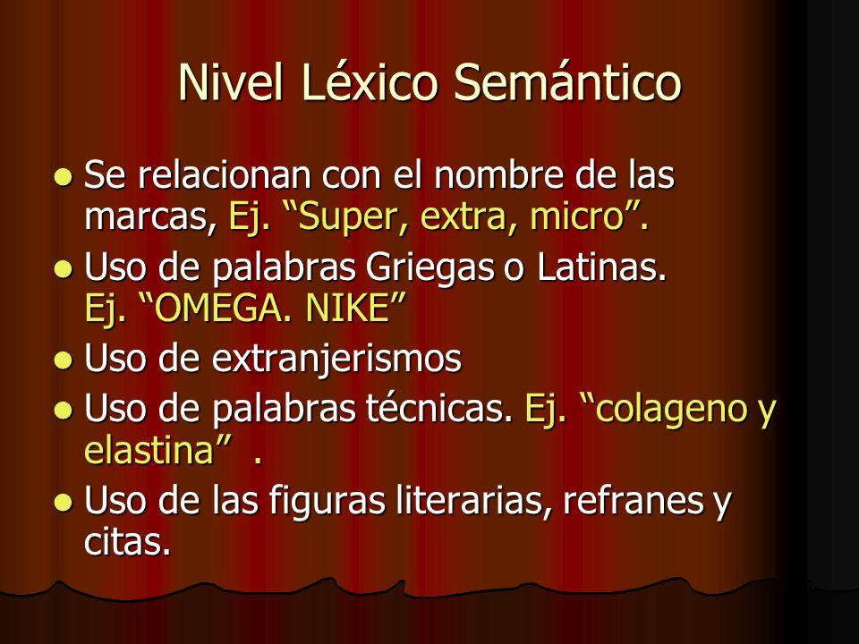 Nivel Léxico Semántico Se relacionan con el nombre de las marcas, Ej. Super, extra, micro. Se relacionan con el nombre de las marcas, Ej. Super, extra