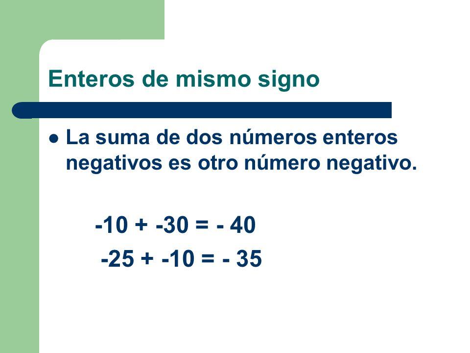 Enteros de mismo signo La suma de dos números enteros positivos es otro número entero positivo. +12 + +15 = +27 +20 + +32 = +52