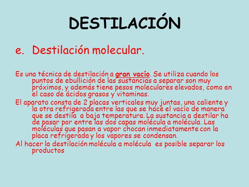 e.Destilación molecular. Es una técnica de destilación a gran vacío. Se utiliza cuando los puntos de ebullición de las sustancias a separar son muy pr