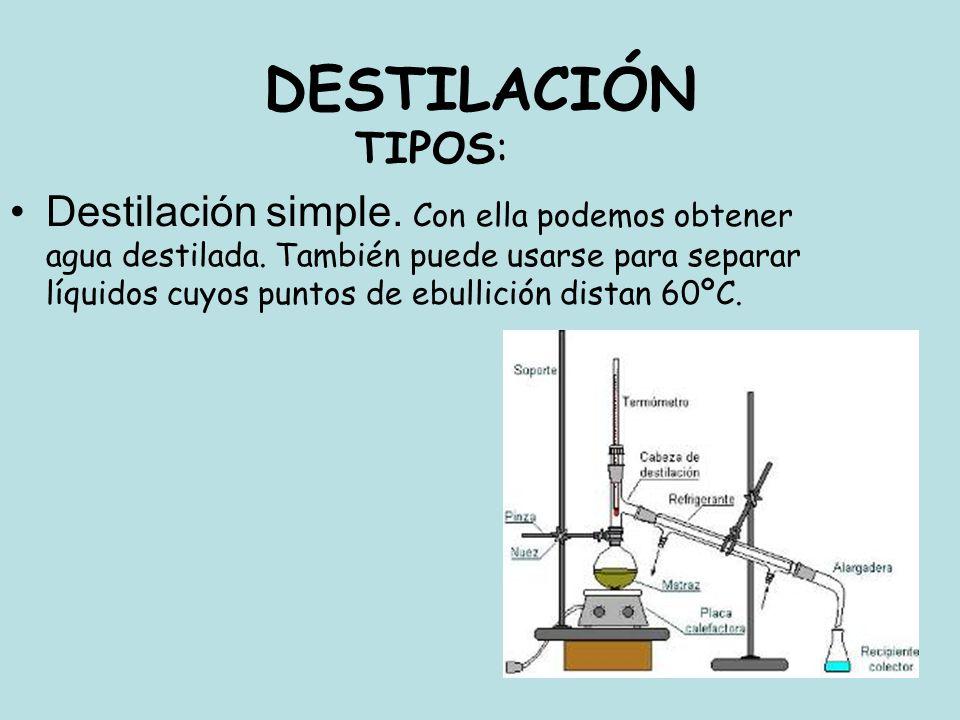 DESTILACIÓN TIPOS: Destilación simple. Con ella podemos obtener agua destilada. También puede usarse para separar líquidos cuyos puntos de ebullición