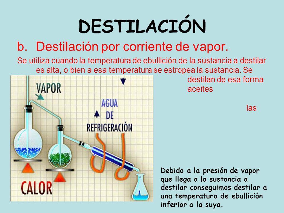DESTILACIÓN b.Destilación por corriente de vapor. Se utiliza cuando la temperatura de ebullición de la sustancia a destilar es alta, o bien a esa temp
