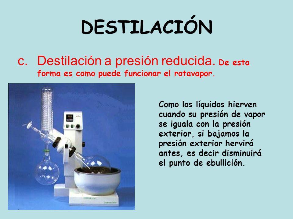 c.Destilación a presión reducida. De esta forma es como puede funcionar el rotavapor. DESTILACIÓN Como los líquidos hierven cuando su presión de vapor