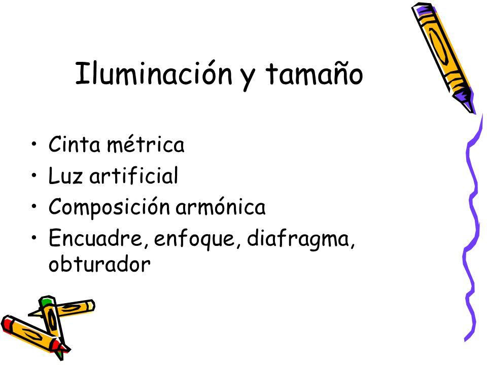 Iluminación y tamaño Cinta métrica Luz artificial Composición armónica Encuadre, enfoque, diafragma, obturador