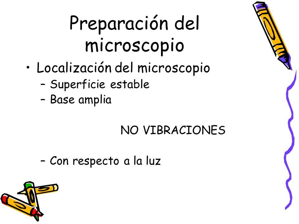 Preparación del microscopio Localización del microscopio –Superficie estable –Base amplia NO VIBRACIONES –Con respecto a la luz