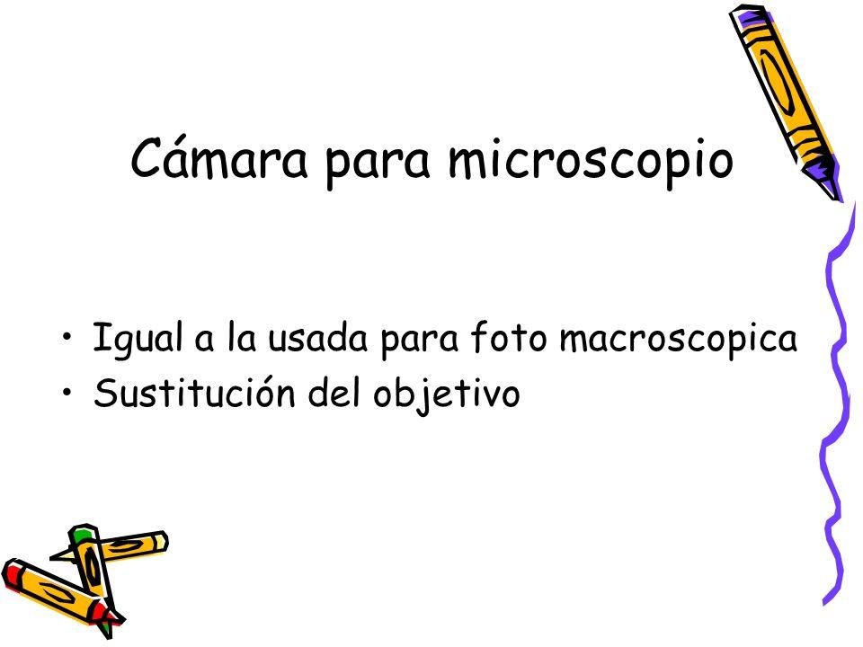 Cámara para microscopio Igual a la usada para foto macroscopica Sustitución del objetivo