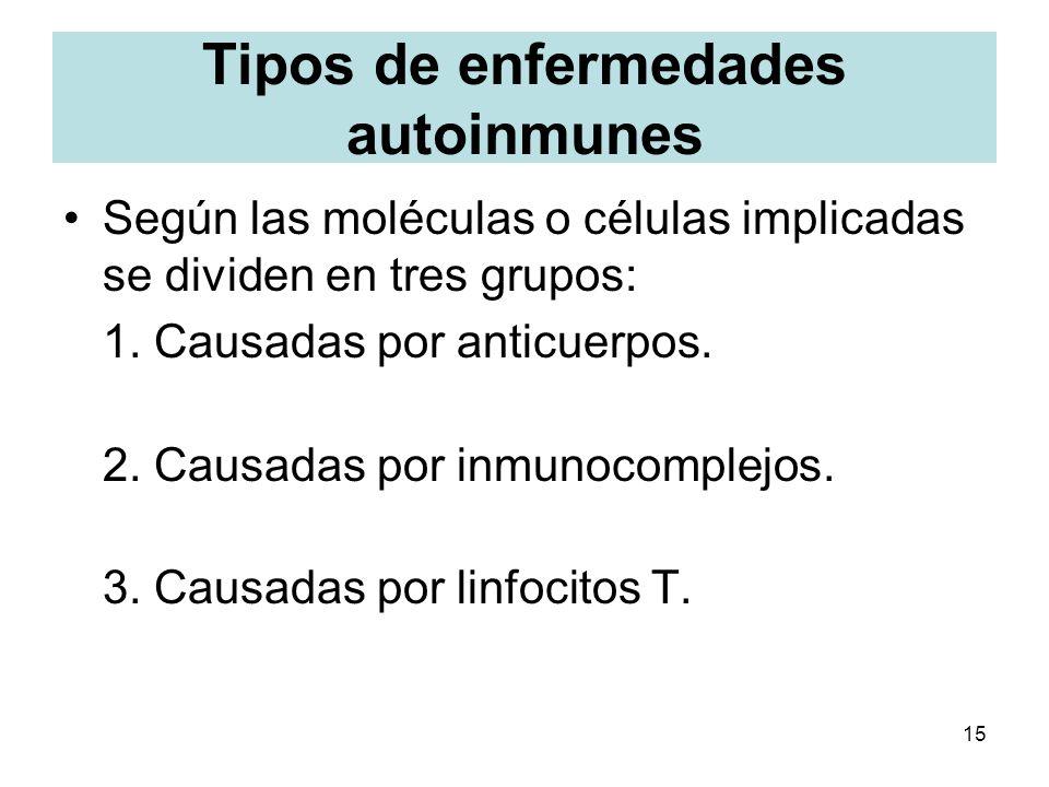 15 Tipos de enfermedades autoinmunes Según las moléculas o células implicadas se dividen en tres grupos: 1. Causadas por anticuerpos. 2. Causadas por