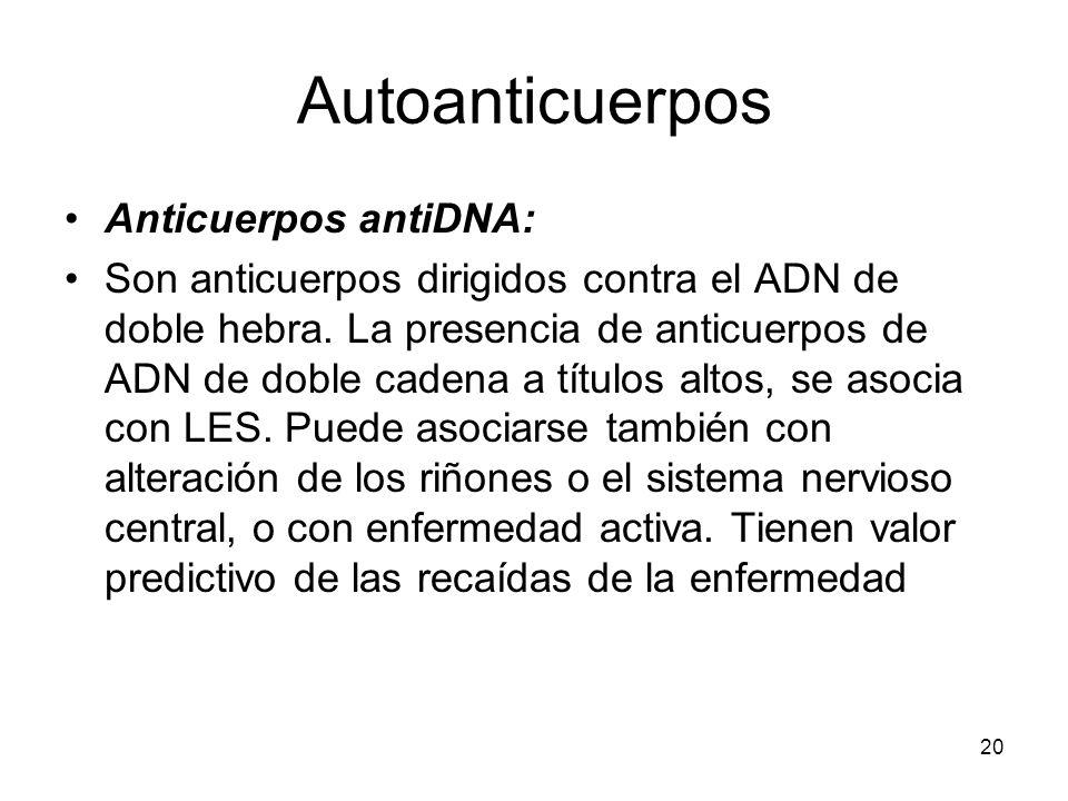 20 Autoanticuerpos Anticuerpos antiDNA: Son anticuerpos dirigidos contra el ADN de doble hebra. La presencia de anticuerpos de ADN de doble cadena a t
