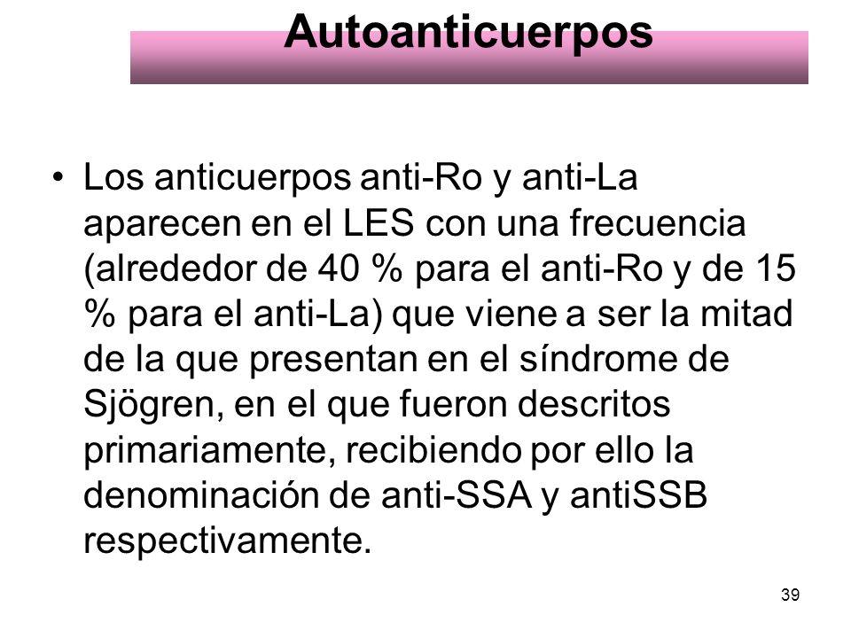 39 Autoanticuerpos Los anticuerpos anti-Ro y anti-La aparecen en el LES con una frecuencia (alrededor de 40 % para el anti-Ro y de 15 % para el anti-L