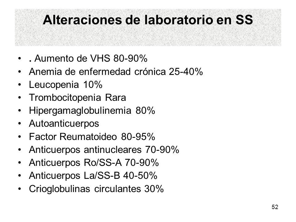52 Alteraciones de laboratorio en SS. Aumento de VHS 80-90% Anemia de enfermedad crónica 25-40% Leucopenia 10% Trombocitopenia Rara Hipergamaglobuline