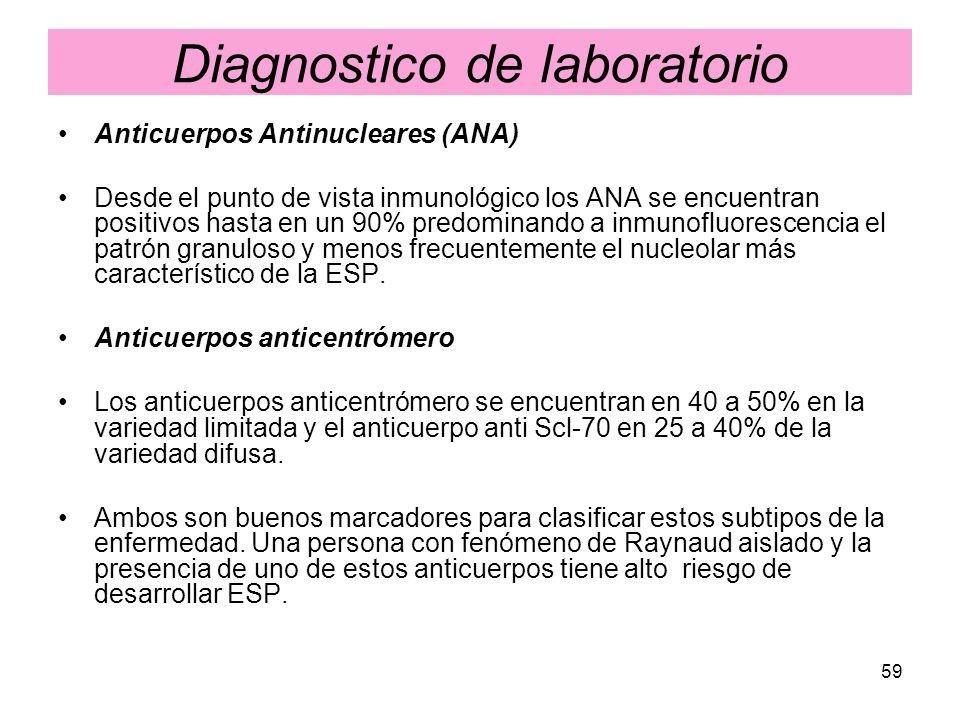 59 Diagnostico de laboratorio Anticuerpos Antinucleares (ANA) Desde el punto de vista inmunológico los ANA se encuentran positivos hasta en un 90% pre