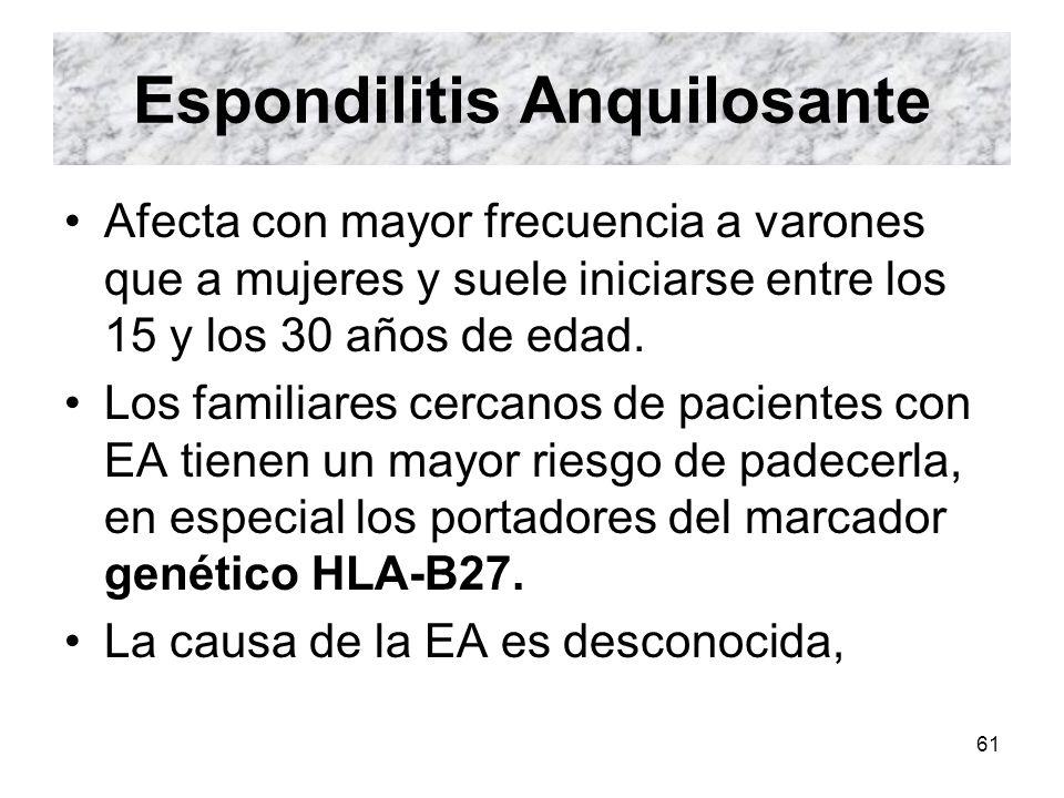 61 Espondilitis Anquilosante Afecta con mayor frecuencia a varones que a mujeres y suele iniciarse entre los 15 y los 30 años de edad. Los familiares