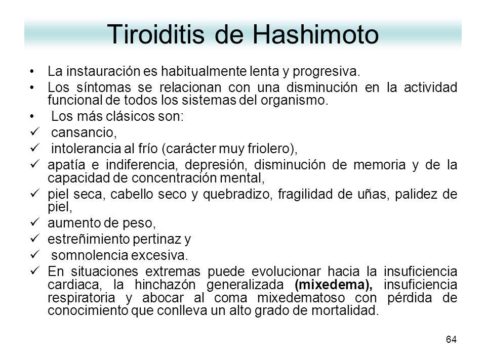 64 Tiroiditis de Hashimoto La instauración es habitualmente lenta y progresiva. Los síntomas se relacionan con una disminución en la actividad funcion