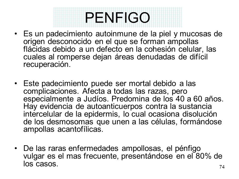 74 PENFIGO Es un padecimiento autoinmune de la piel y mucosas de origen desconocido en el que se forman ampollas flácidas debido a un defecto en la co