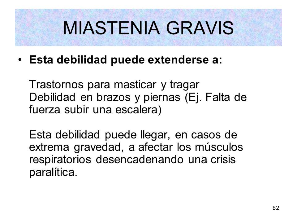 82 MIASTENIA GRAVIS Esta debilidad puede extenderse a: Trastornos para masticar y tragar Debilidad en brazos y piernas (Ej. Falta de fuerza subir una