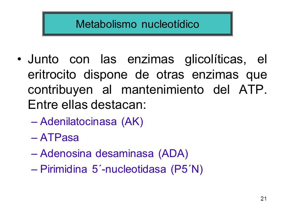 21 Junto con las enzimas glicolíticas, el eritrocito dispone de otras enzimas que contribuyen al mantenimiento del ATP. Entre ellas destacan: –Adenila