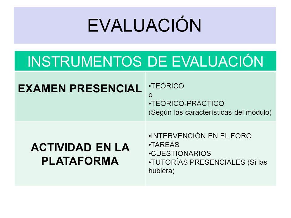 EVALUACIÓN INSTRUMENTOS DE EVALUACIÓN EXAMEN PRESENCIAL TEÓRICO o TEÓRICO-PRÁCTICO (Según las características del módulo) ACTIVIDAD EN LA PLATAFORMA I