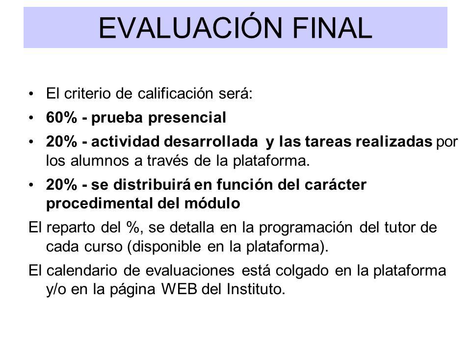 EVALUACIÓN FINAL El criterio de calificación será: 60% - prueba presencial 20% - actividad desarrollada y las tareas realizadas por los alumnos a trav