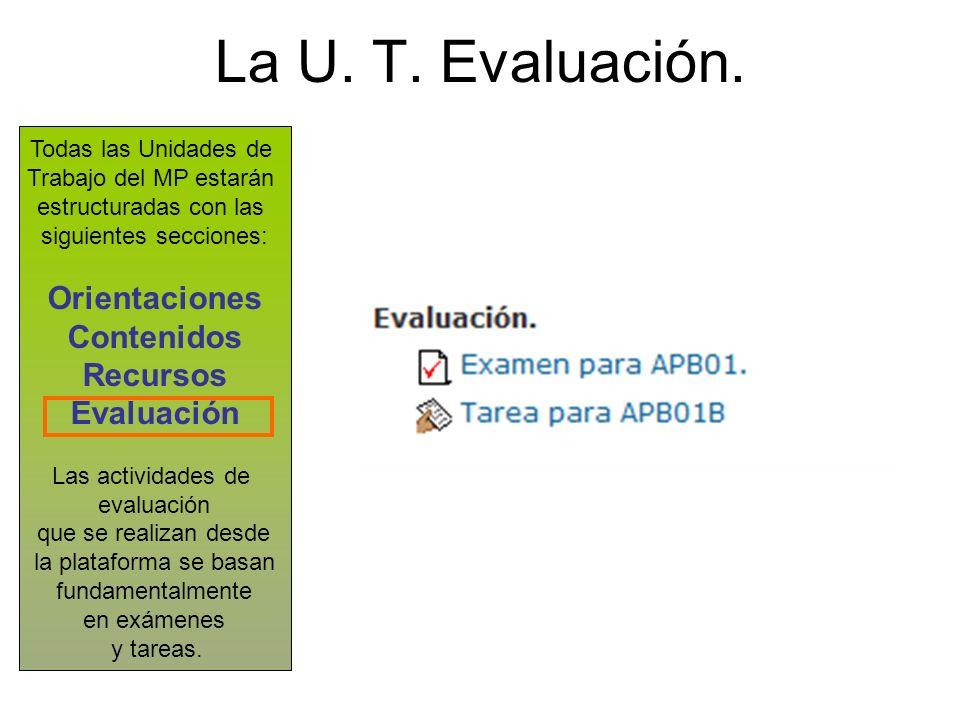 La U. T. Evaluación. Todas las Unidades de Trabajo del MP estarán estructuradas con las siguientes secciones: Orientaciones Contenidos Recursos Evalua