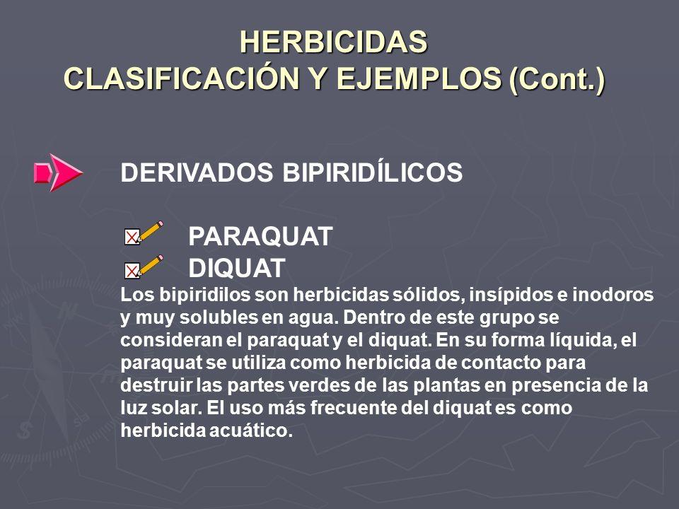 HERBICIDAS CLASIFICACIÓN Y EJEMPLOS (Cont.) DERIVADOS BIPIRIDÍLICOS PARAQUAT DIQUAT Los bipiridilos son herbicidas sólidos, insípidos e inodoros y muy
