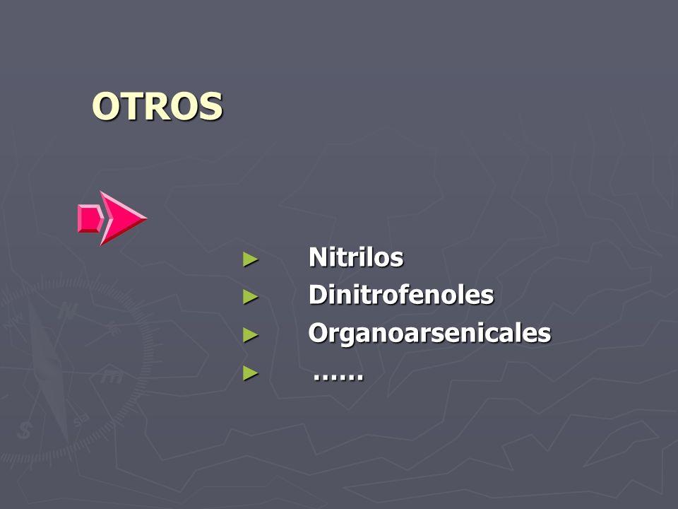 OTROS Nitrilos Nitrilos Dinitrofenoles Dinitrofenoles Organoarsenicales Organoarsenicales …… ……