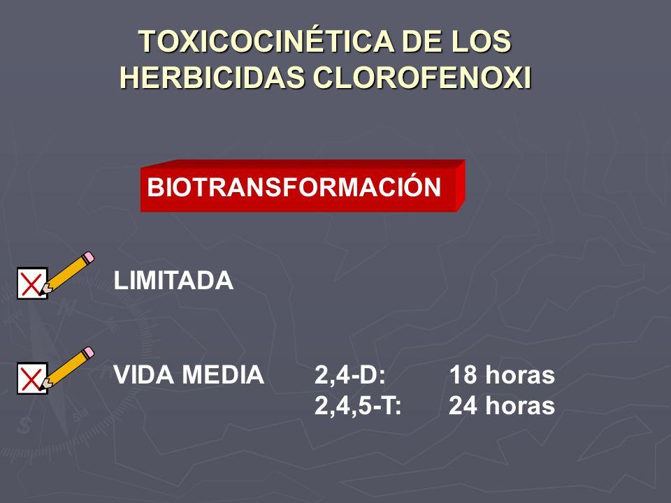TOXICOCINÉTICA DE LOS HERBICIDAS CLOROFENOXI LIMITADA VIDA MEDIA2,4-D:18 horas 2,4,5-T:24 horas BIOTRANSFORMACIÓN