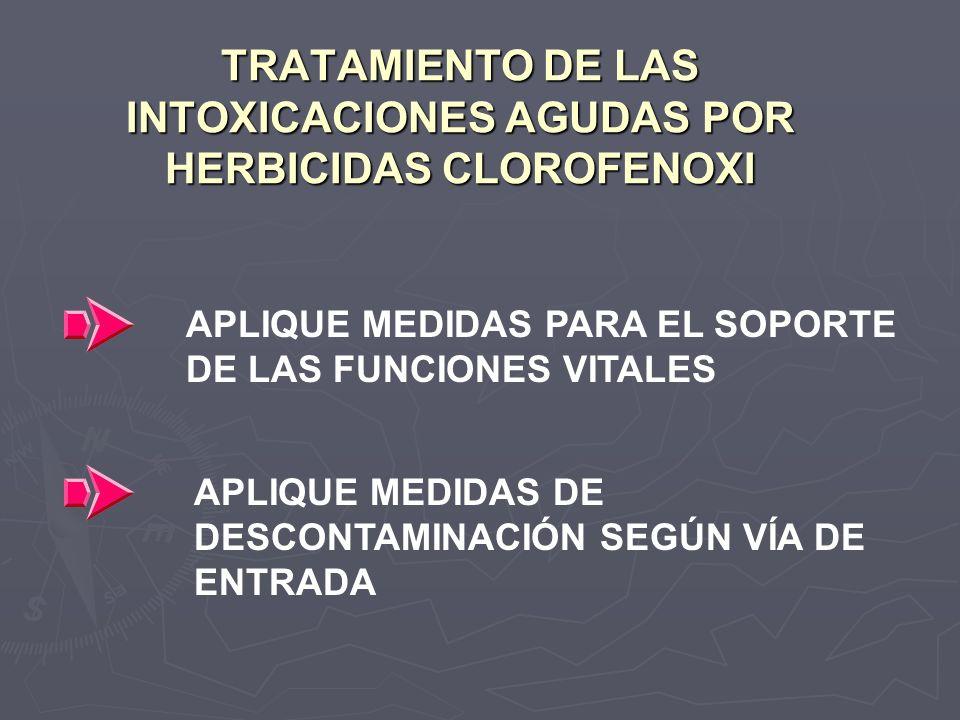TRATAMIENTO DE LAS INTOXICACIONES AGUDAS POR HERBICIDAS CLOROFENOXI APLIQUE MEDIDAS PARA EL SOPORTE DE LAS FUNCIONES VITALES APLIQUE MEDIDAS DE DESCON