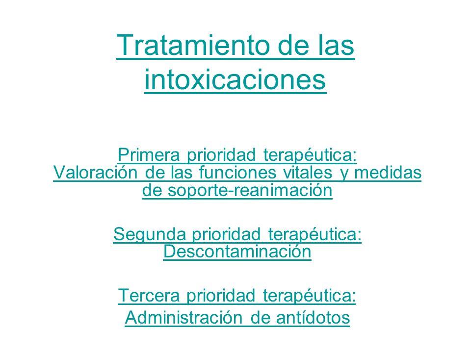 Tratamiento de las intoxicaciones Primera prioridad terapéutica: Valoración de las funciones vitales y medidas de soporte-reanimación Segunda priorida
