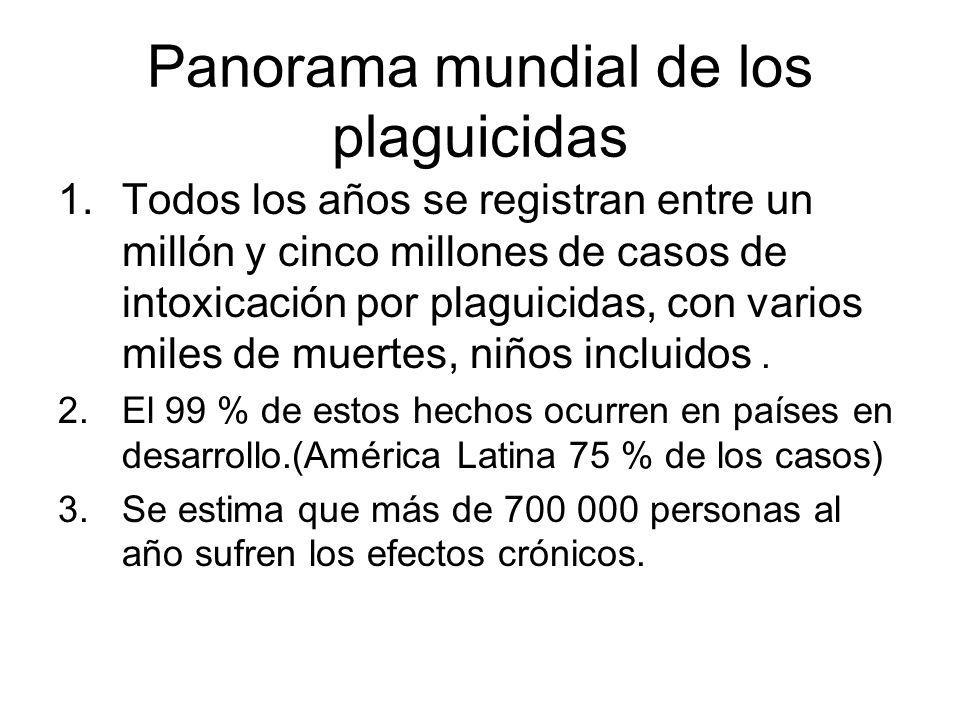 Panorama mundial de los plaguicidas 1.Todos los años se registran entre un millón y cinco millones de casos de intoxicación por plaguicidas, con vario