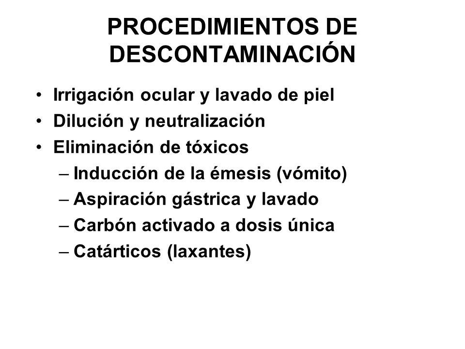 PROCEDIMIENTOS DE DESCONTAMINACIÓN Irrigación ocular y lavado de piel Dilución y neutralización Eliminación de tóxicos –Inducción de la émesis (vómito