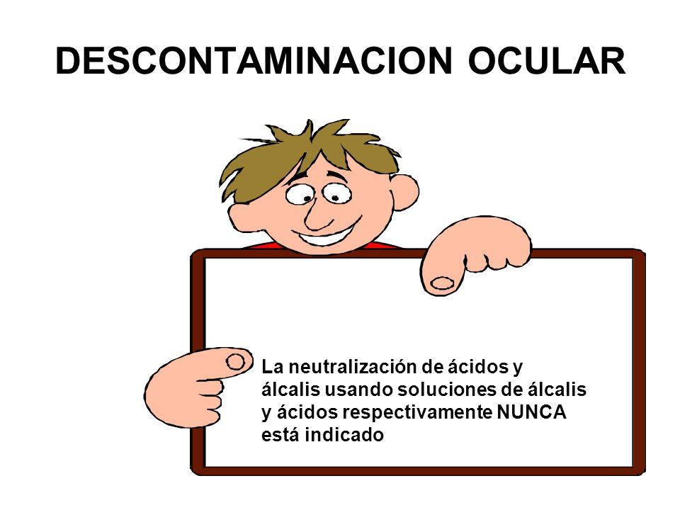 La neutralización de ácidos y álcalis usando soluciones de álcalis y ácidos respectivamente NUNCA está indicado DESCONTAMINACION OCULAR