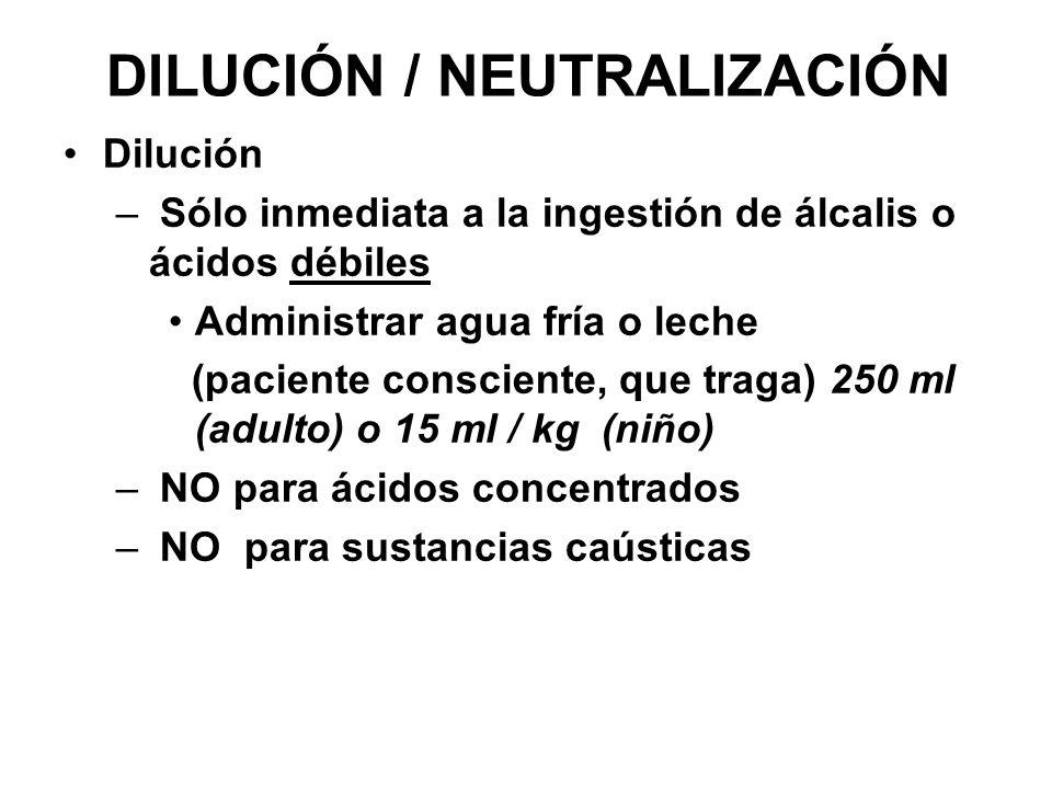 DILUCIÓN / NEUTRALIZACIÓN Dilución – Sólo inmediata a la ingestión de álcalis o ácidos débiles Administrar agua fría o leche (paciente consciente, que
