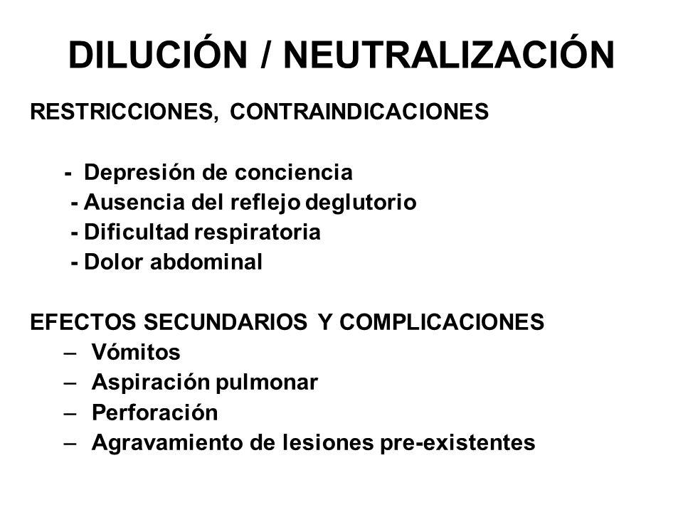 DILUCIÓN / NEUTRALIZACIÓN RESTRICCIONES, CONTRAINDICACIONES - Depresión de conciencia - Ausencia del reflejo deglutorio - Dificultad respiratoria - Do