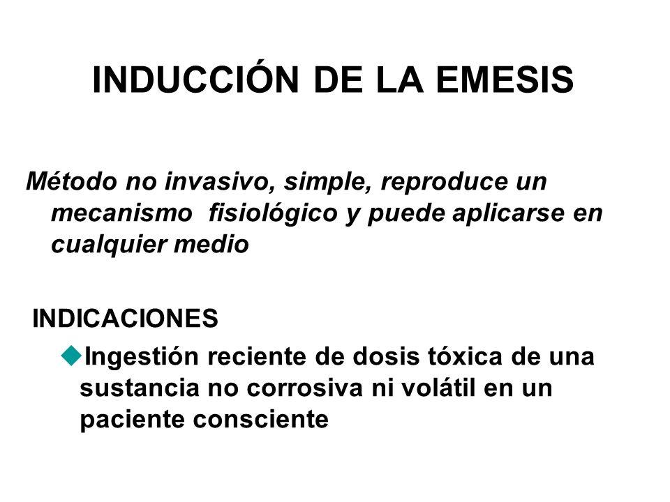 INDUCCIÓN DE LA EMESIS Método no invasivo, simple, reproduce un mecanismo fisiológico y puede aplicarse en cualquier medio INDICACIONES uIngestión rec