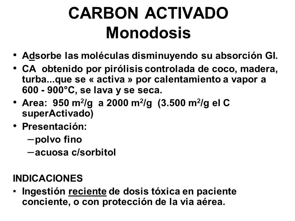 CARBON ACTIVADO Monodosis Adsorbe las moléculas disminuyendo su absorción GI. CA obtenido por pirólisis controlada de coco, madera, turba...que se « a