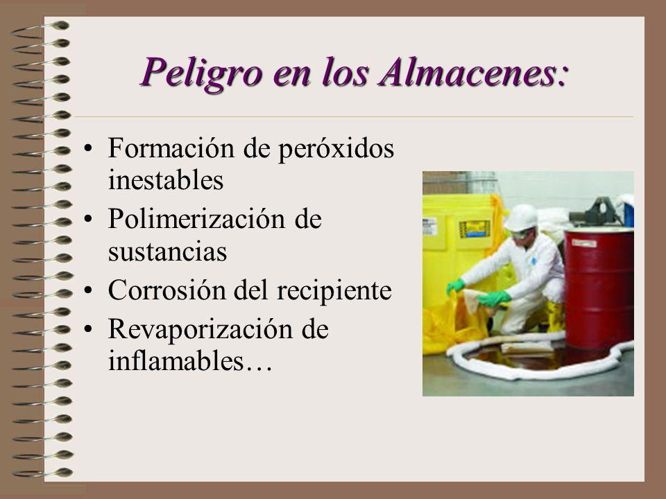 ALMACENES El profesorado te proporcionará protocolos de cómo se deben organizar los diferentes productos químicos por compatibilidad de familias.