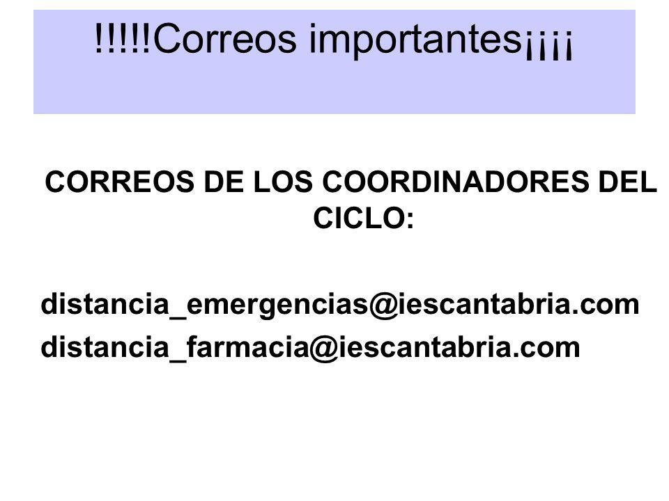!!!!!Correos importantes¡¡¡¡ CORREOS DE LOS COORDINADORES DEL CICLO: distancia_emergencias@iescantabria.com distancia_farmacia@iescantabria.com