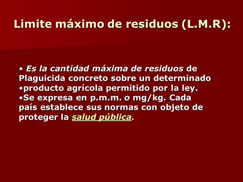 Limite máximo de residuos (L.M.R): Limite máximo de residuos (L.M.R): Es la cantidad máxima de residuos de Es la cantidad máxima de residuos de Plagui