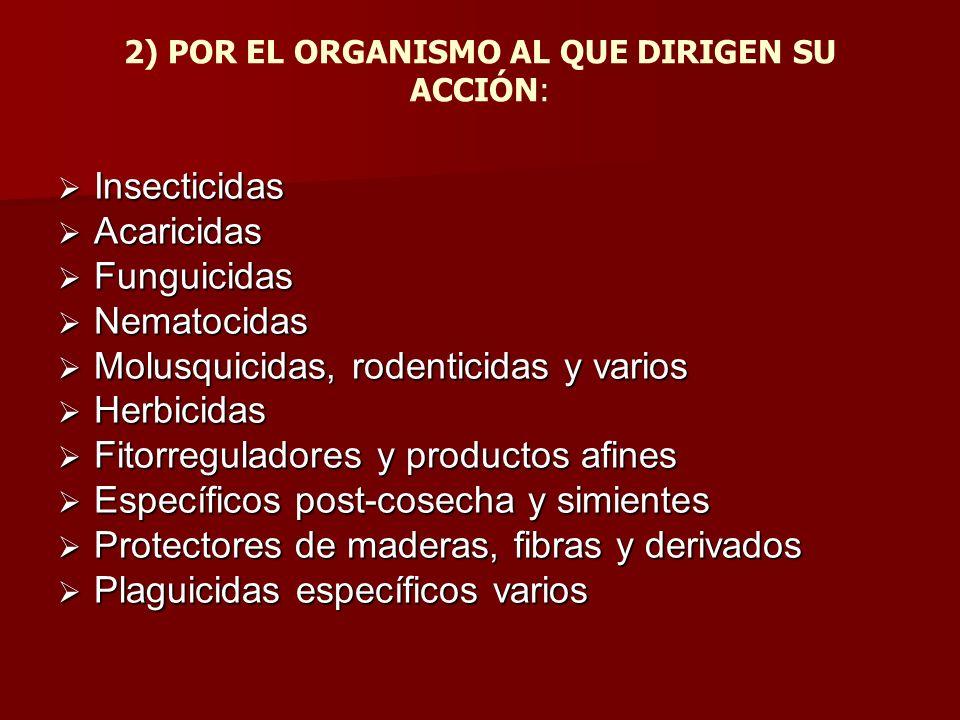 2) POR EL ORGANISMO AL QUE DIRIGEN SU ACCIÓN: Insecticidas Insecticidas Acaricidas Acaricidas Funguicidas Funguicidas Nematocidas Nematocidas Molusqui
