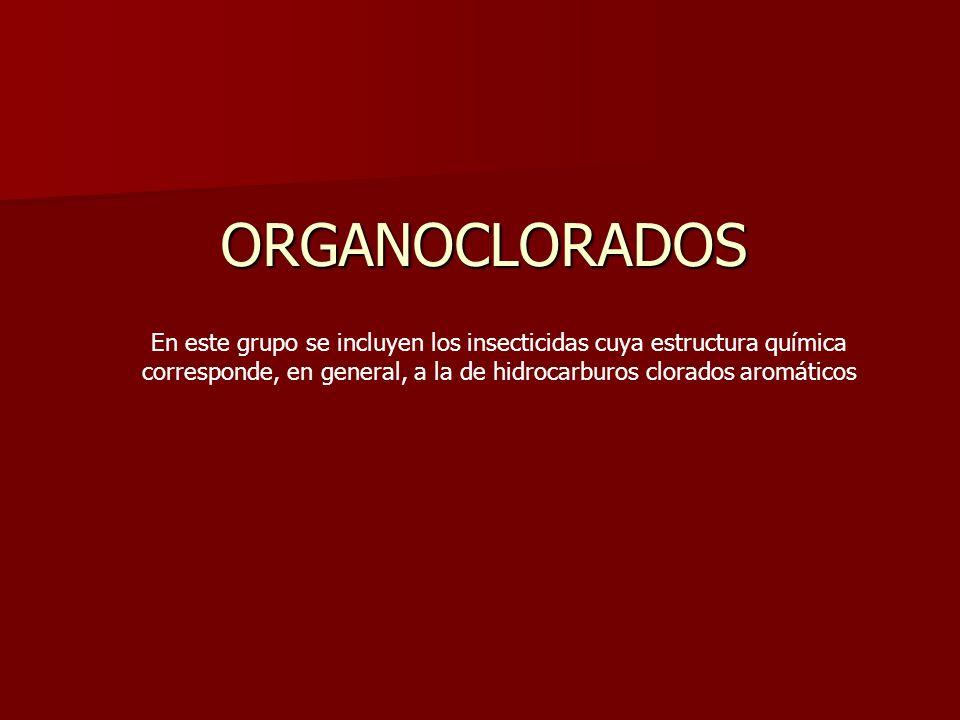 ORGANOCLORADOS En este grupo se incluyen los insecticidas cuya estructura química corresponde, en general, a la de hidrocarburos clorados aromáticos